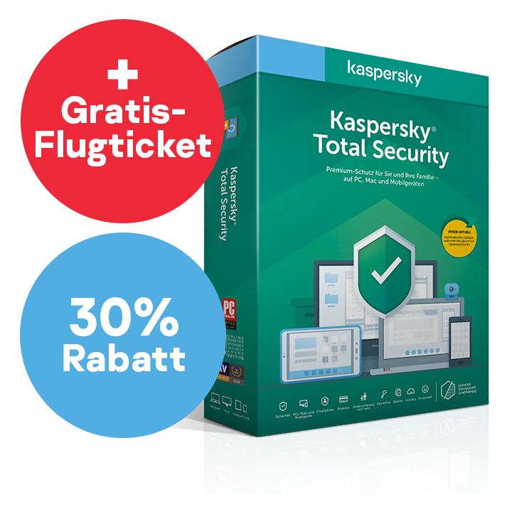 30% Rabatt auf Kaspersky Total Security + GRATIS FLUGTICKET (Hin- und Rückflug)