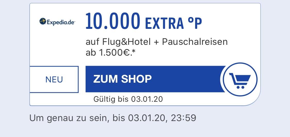 Payback Expedia 10.000 Punkte auf Pauschalreisen ab 1500 € + Shoop bis zu 5%