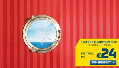 3 Tage Minikreuzfahrt Amsterdam - Newcastle für 2 Personen 22,- € (Januar-Februar) oder 58,- € (März) - pro Person 11,- bzw. 29,- €