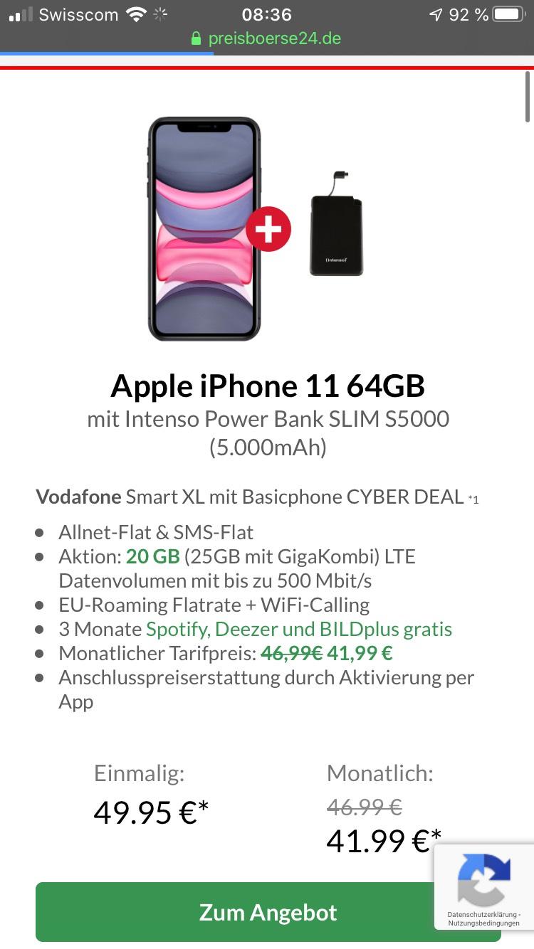 Apple IPhone 11 64GB von Preisboerse24.de 20GB Datenvolumen