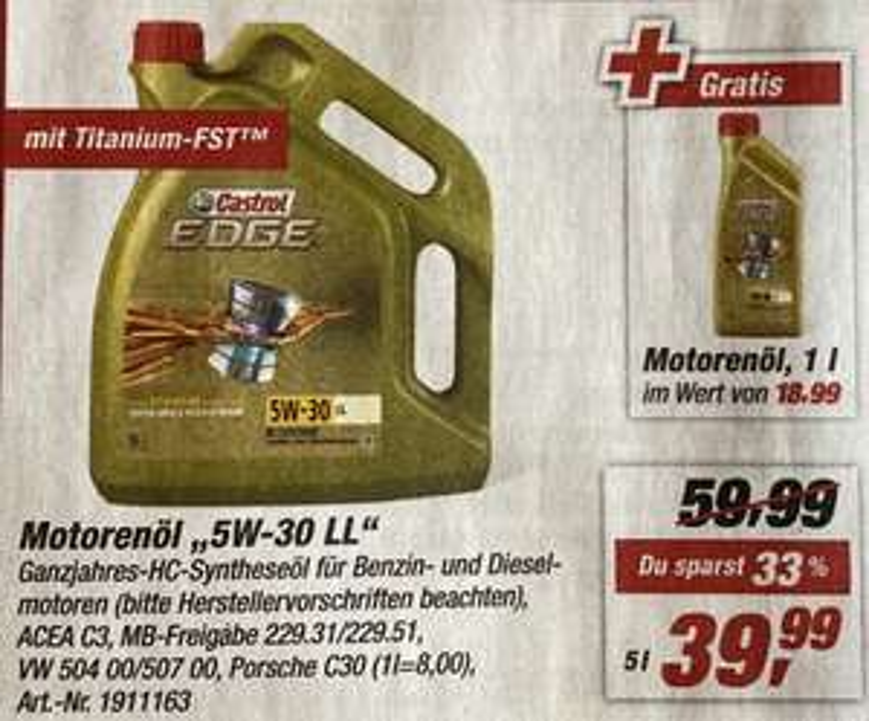 [Toom]6 Liter CASTROL EDGE TITANIUM FST 5W-30 LL (6,66€/L)
