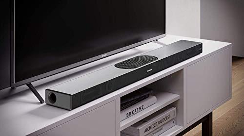 SHARP HT-SBW420 (GR), 2.1 All-in-One Slim Soundbar mit eingebautem Subwoofer in Premium Aluminium-Design, App-Steuerung, WiFi, Bluetooth