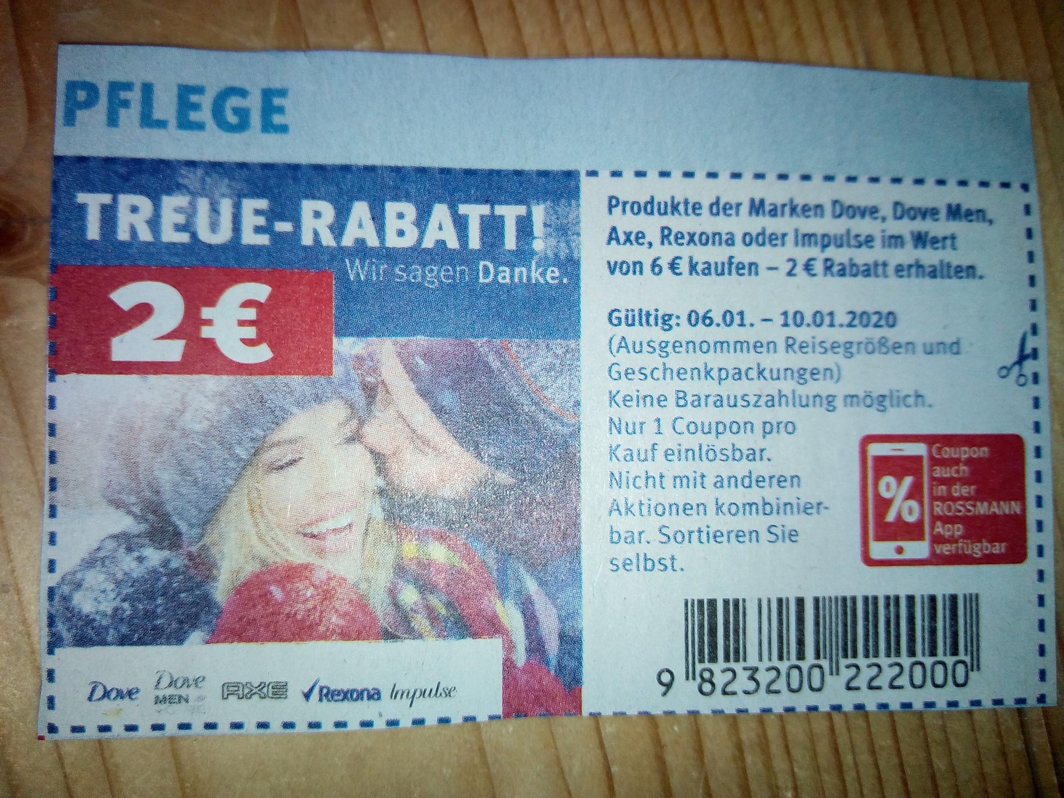 2€ Rabatt bei 6€ Einkaufswert Rossmann Axe, Dove, Rexona oder Impulse