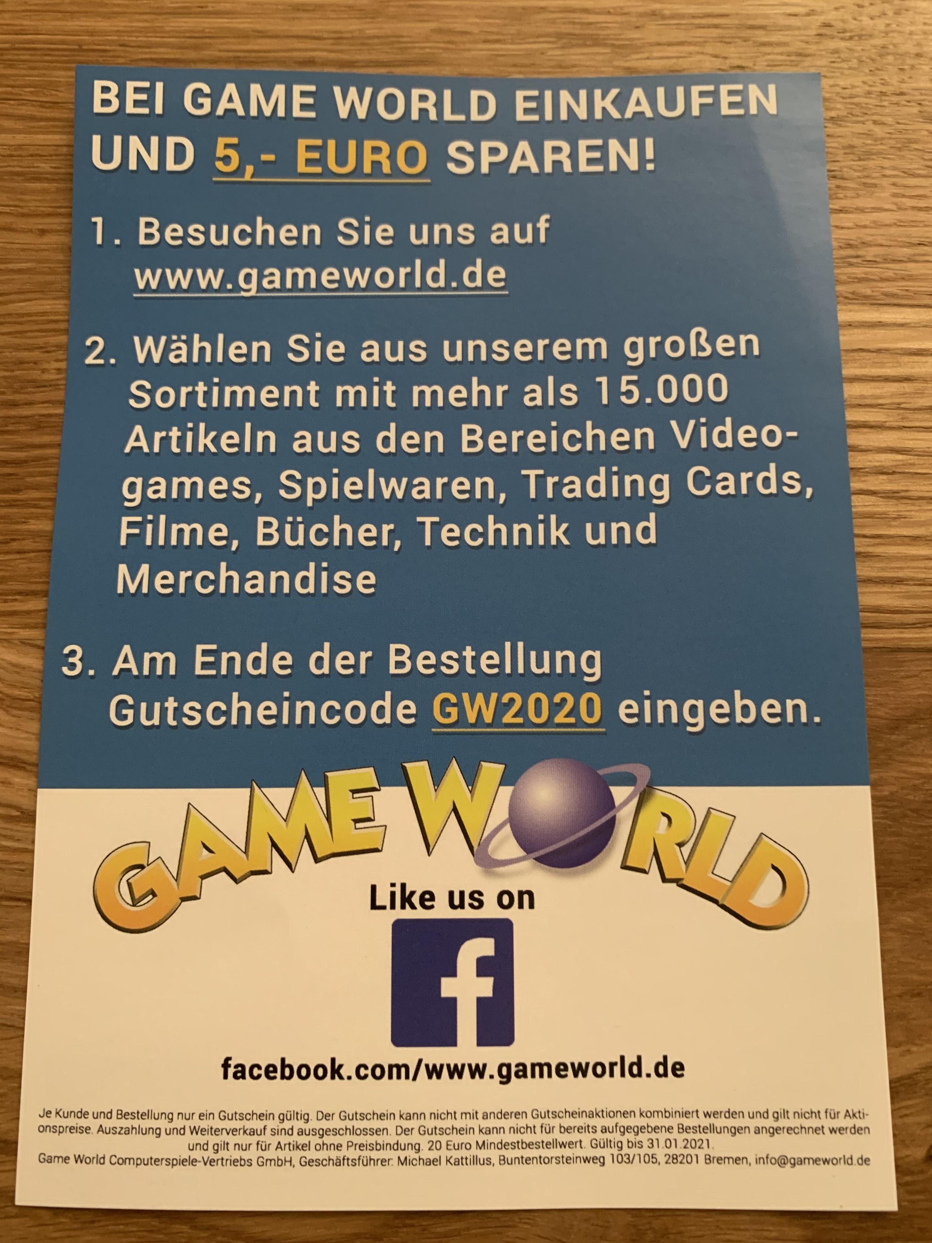 5€ Gutschein ab 20€ MBW bei Gameworld.de