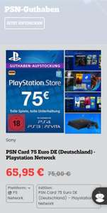 Games Rocket Playstation Store 75€ Guthaben für 65,95€ (Download)