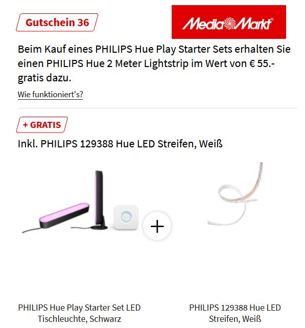 Media Markt: Philips Hue Play Lightbar Doppelpack schwarz, Bridge, LightStrip+ 2m bei Abholung im Markt