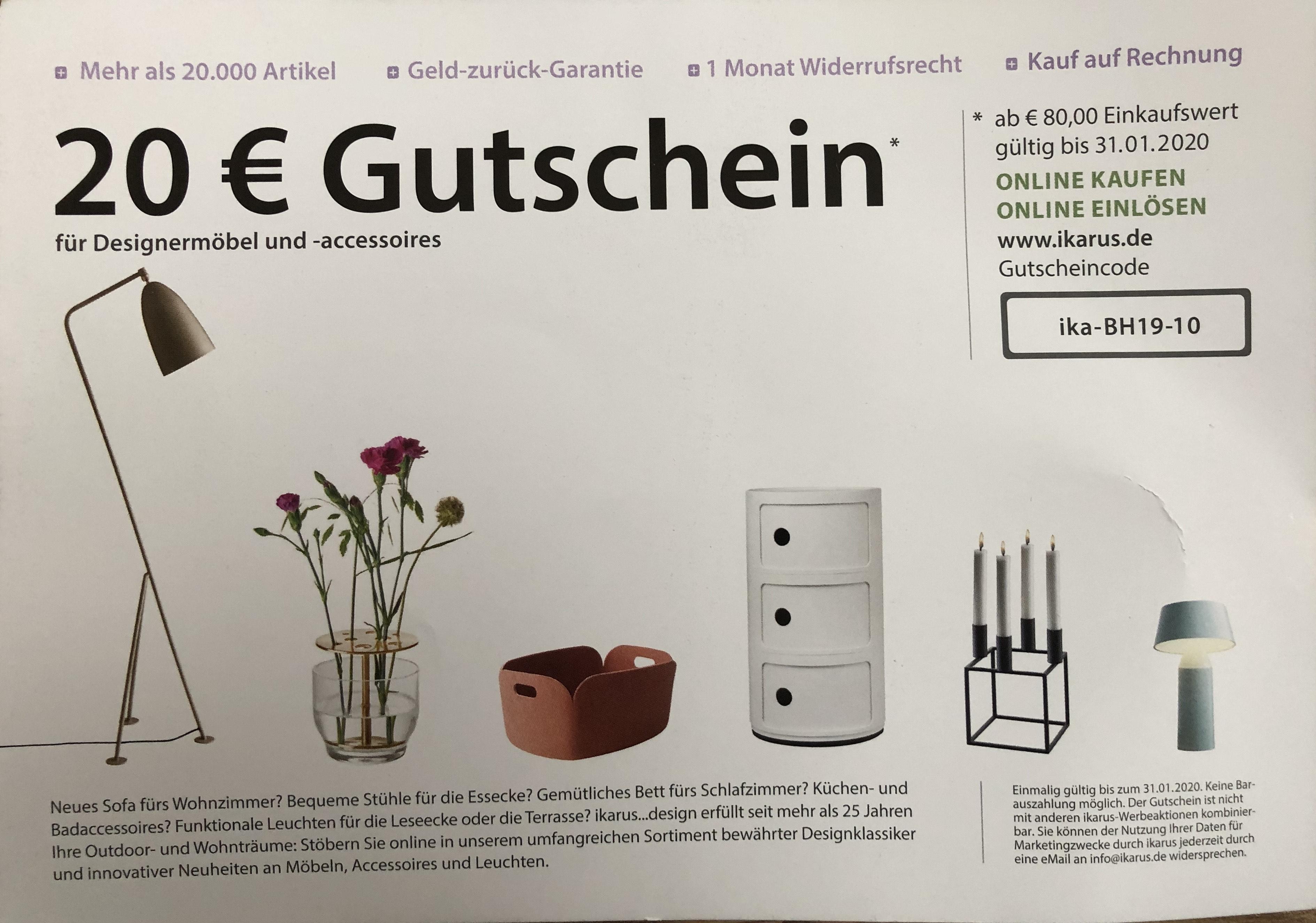 20€ Gutschein bei Ikarus ab 80€ MBW