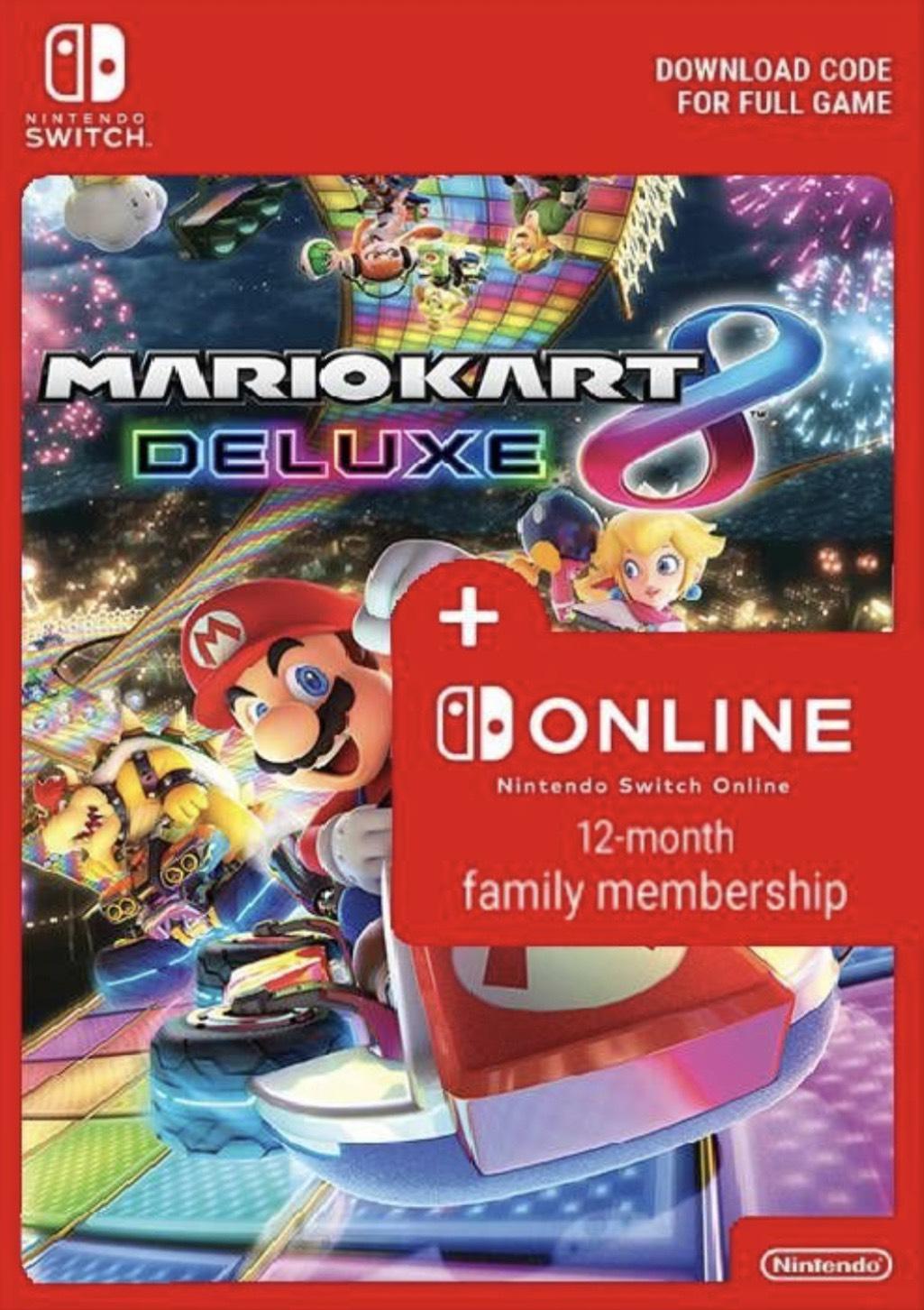 Mario Kart 8 Deluxe & 12 Monate Nintendo Online Familienmitgliedschaft
