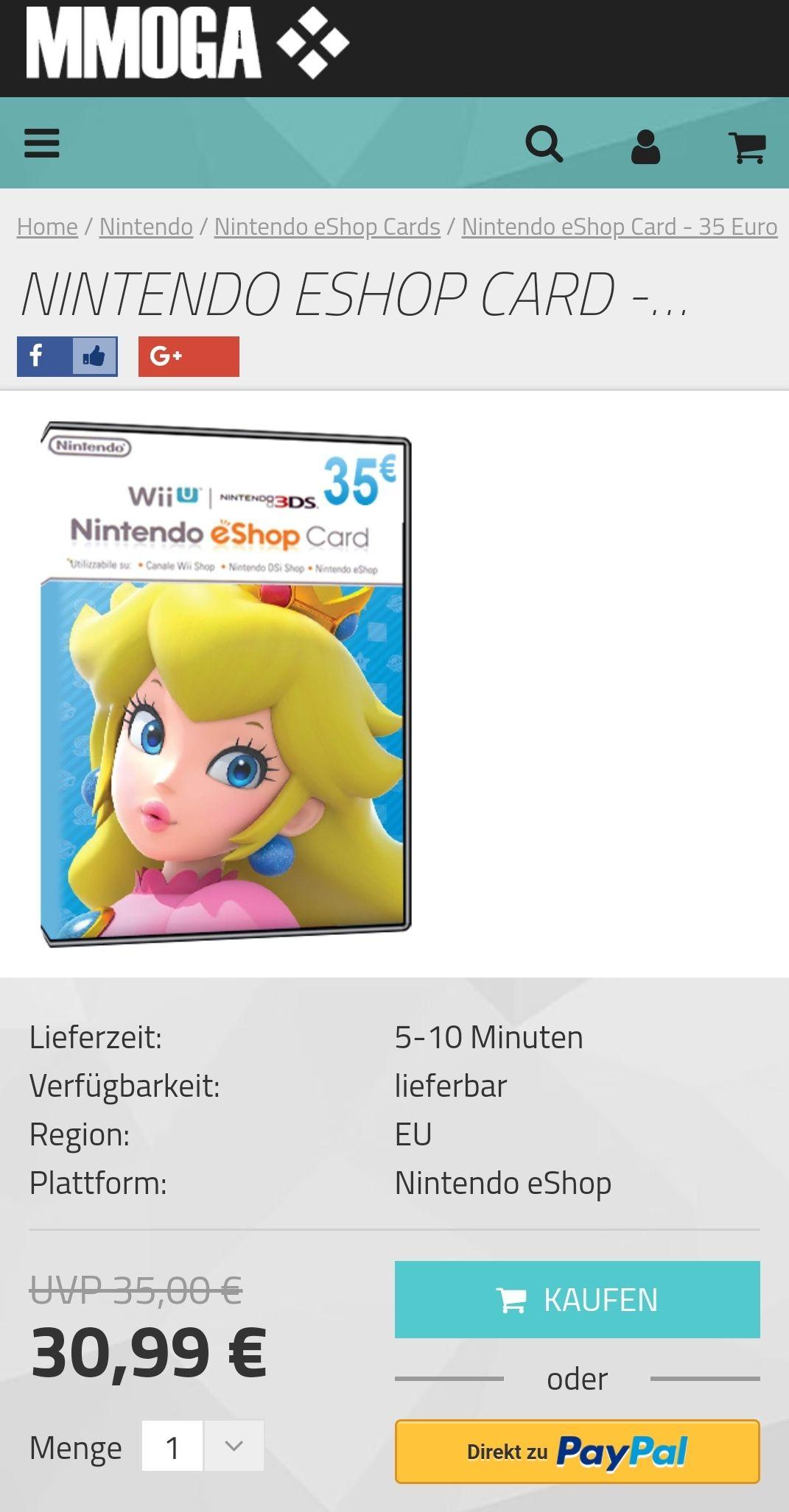 Nintendo eShop Guthaben 35€ (EU)