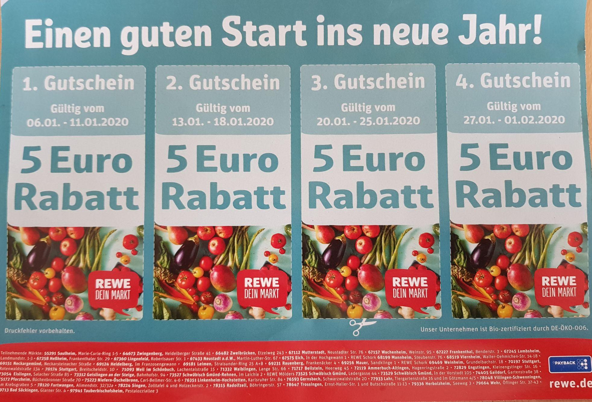 (Lokal Rhein-Neckar Region) 4 x 5 EUR - Gutscheine für REWE