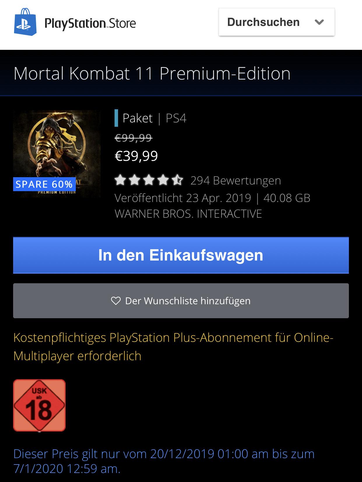 Mortal Kombat 11 Premium-Edition / PS4 - PSN Store