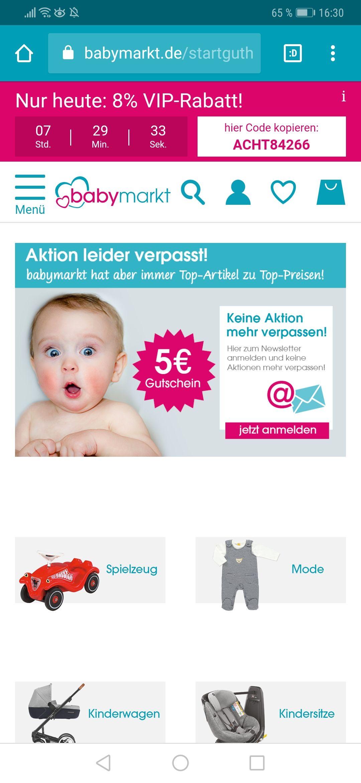 Babymarkt 8% VIP- Rabatt nur heute