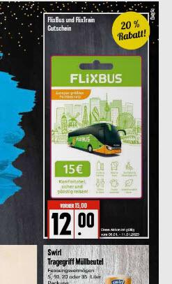 20% Rabatt auf FLIXBUS/ FLIXTRAIN Karten bei EDEKA & Marktkauf national