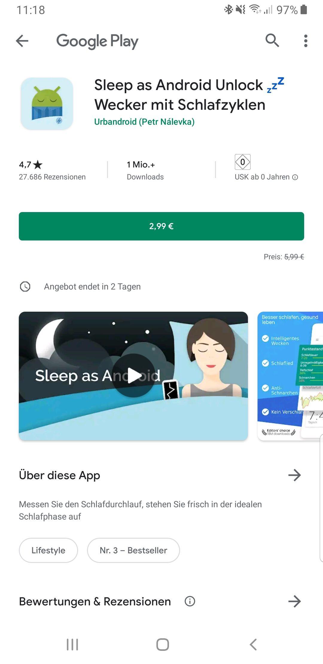 Sleep as Android - Wecker mit Schlafzyklen - Premium