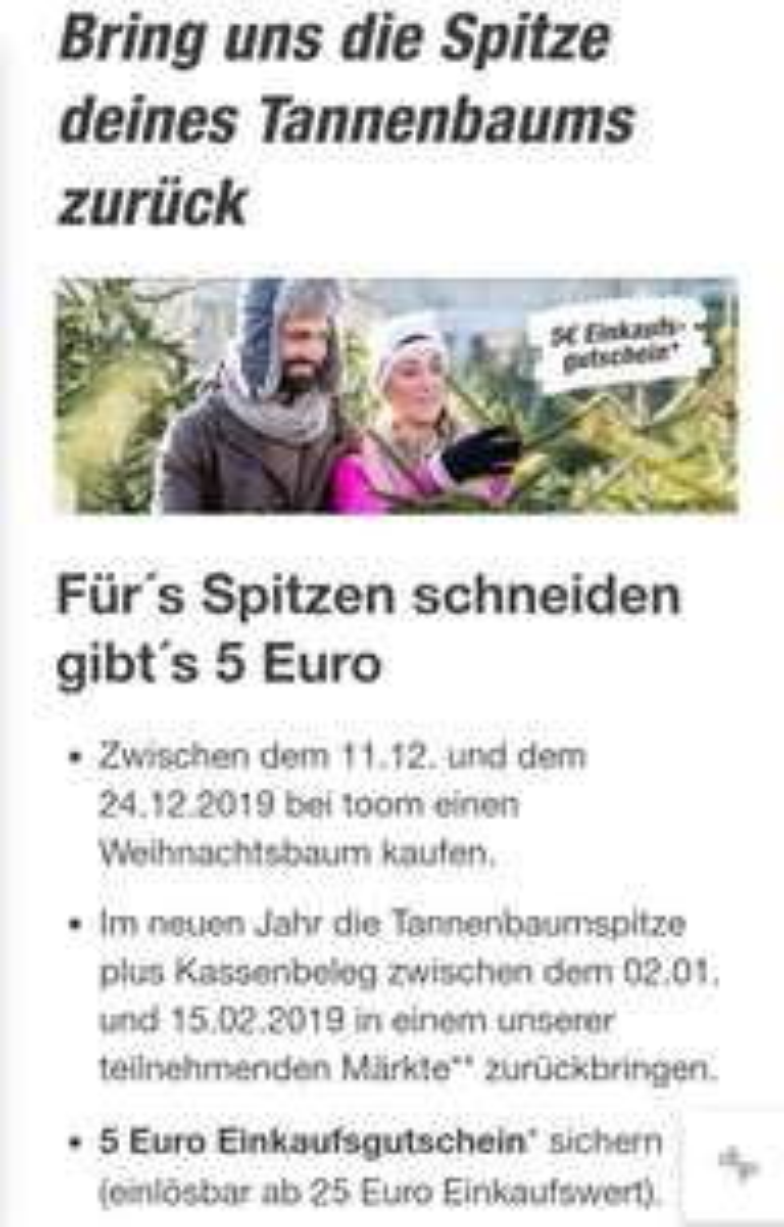 Toom Tannenbaumspitzen-Aktion / 5€ geschenkt bei 25€ Mindesteinkauf