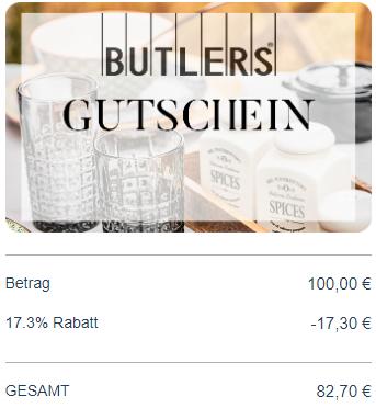 [Geschenkkarten] 17,3% Rabatt auf Butlers 5% Ikea 3% Media/ Saturn u.v.m