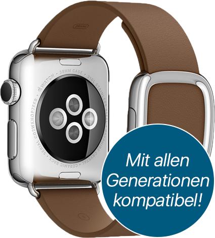 Apple Watch Modernes Lederarmband für 38/40 mm in S/M/L in braun (ggf. auch schwarz & blau)