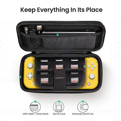 Ugreen Hartschalentasche für die Nintendo Switch Lite, Kabel & 6 Cartridges (PVC/Polyester, Doppelreißverschluss, Karabiner, 260x123x48mm)
