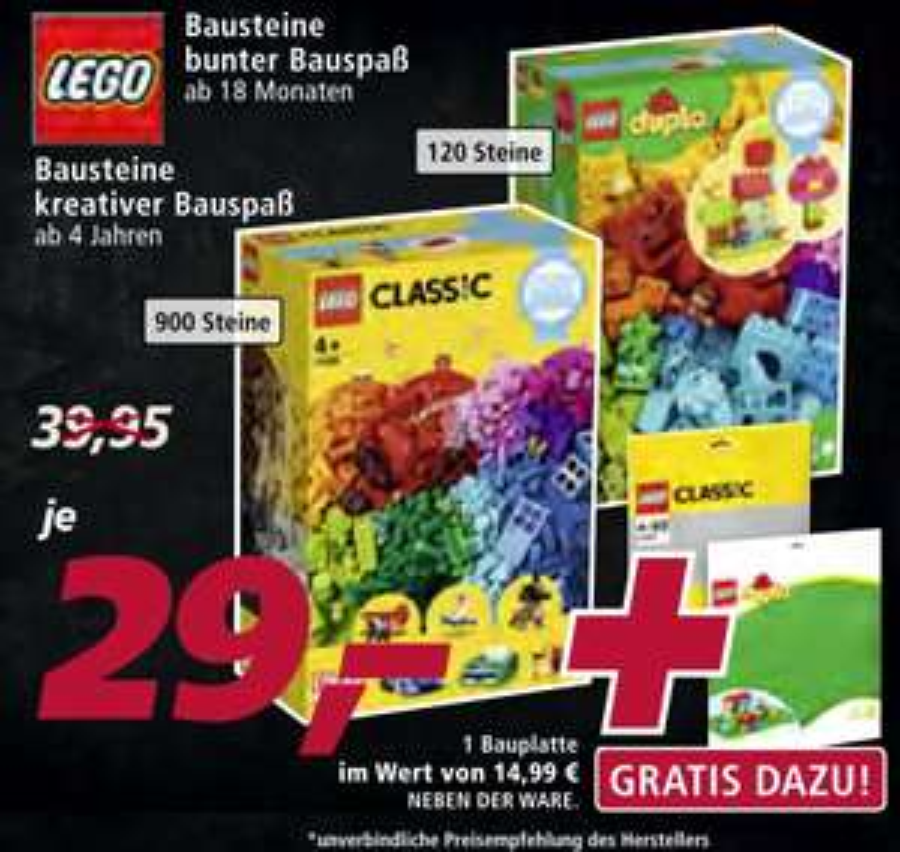 Lego Duplo 10887 Bunter Bauspaß (120 Teile) + gr. Bauplatte oder Lego 11005 Kreativer Spielspaß (900 Teile) + Grundplatte 10701 für je 29€