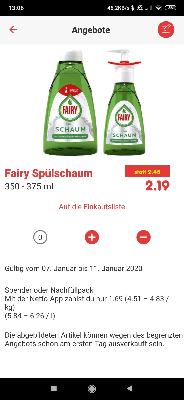 Netto Fairy Spülschaum im Angebot für 2,19. Mit der Netto App Coupon nochmal 0,50 Cent weniger. Also dann 1,69 Euro