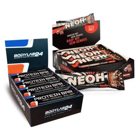 Riegel-Paket: 12x 30g Neoh The CrossBar (~1g Zucker, MHD 31.01.) + 12x 65g Bodylab24 Protein Bar (27g Protein) für 19,99€ versandkostenfrei