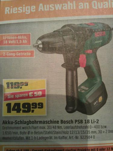 [LOKAL OBI] Bosch PSB 18 Li-2 - 50€ Sparen!!! - Jetzt nur 149,99€ statt 119,99€