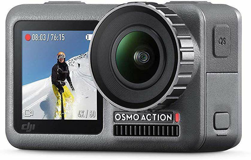 DJI Osmo Action Cam Digitale Actionkamera mit 2 Bildschirmen 11m wasserdicht 4K HDR-Video 12MP 145° Winkelobjektiv Kamera, Schwarz