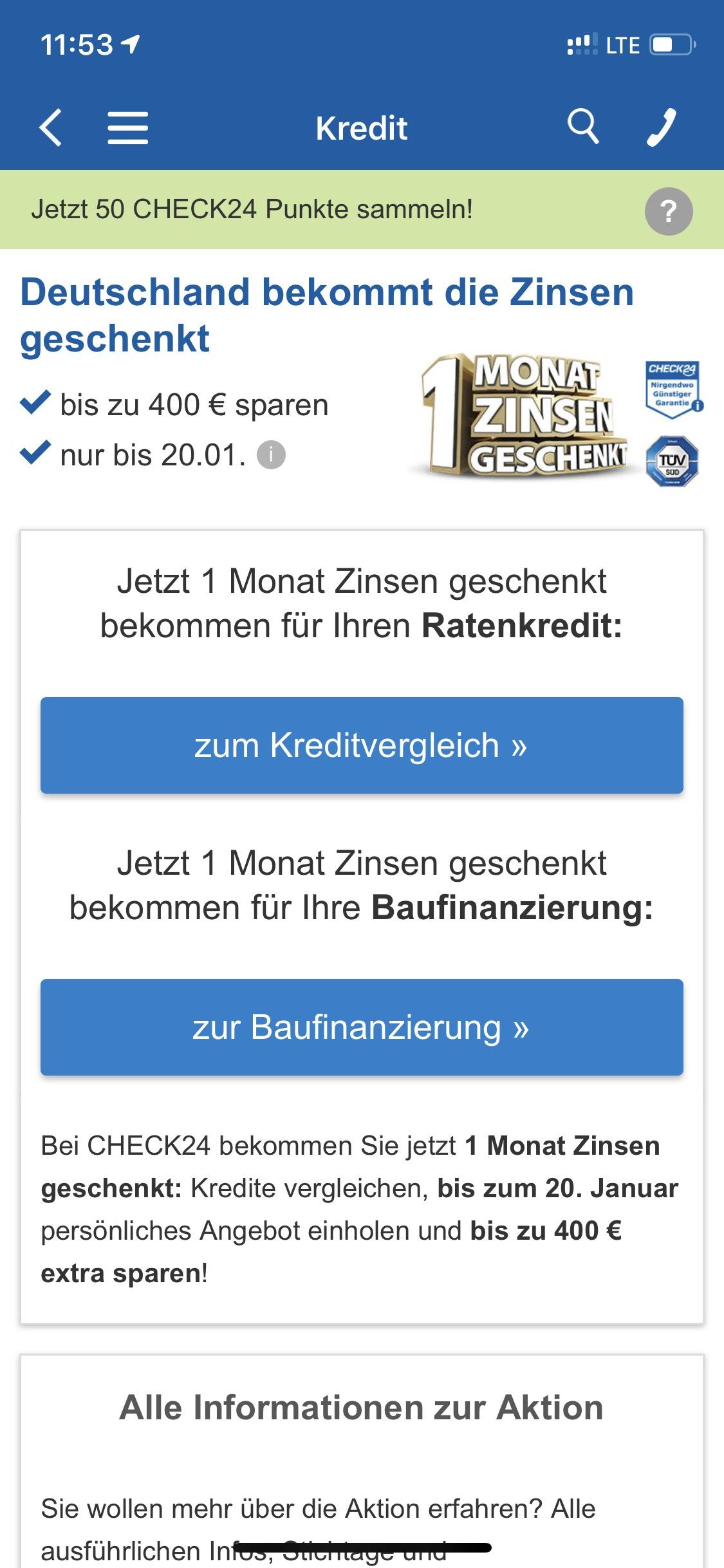 Check24 - Bis zu 400€ Monatsrate bei Kredit geschenkt