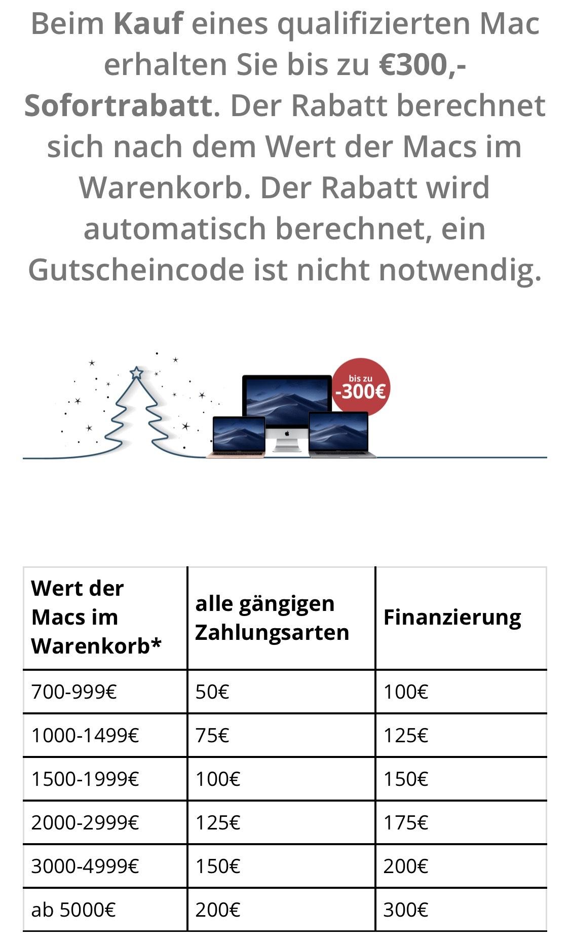 MacTrade bis 300€ Rabatt auf Mac!