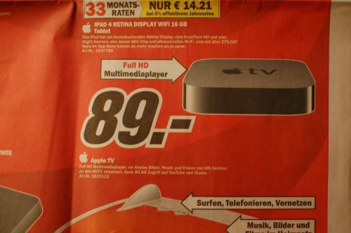 [Lokal] Apple TV für 89 Euro im Media Markt Heidelberg