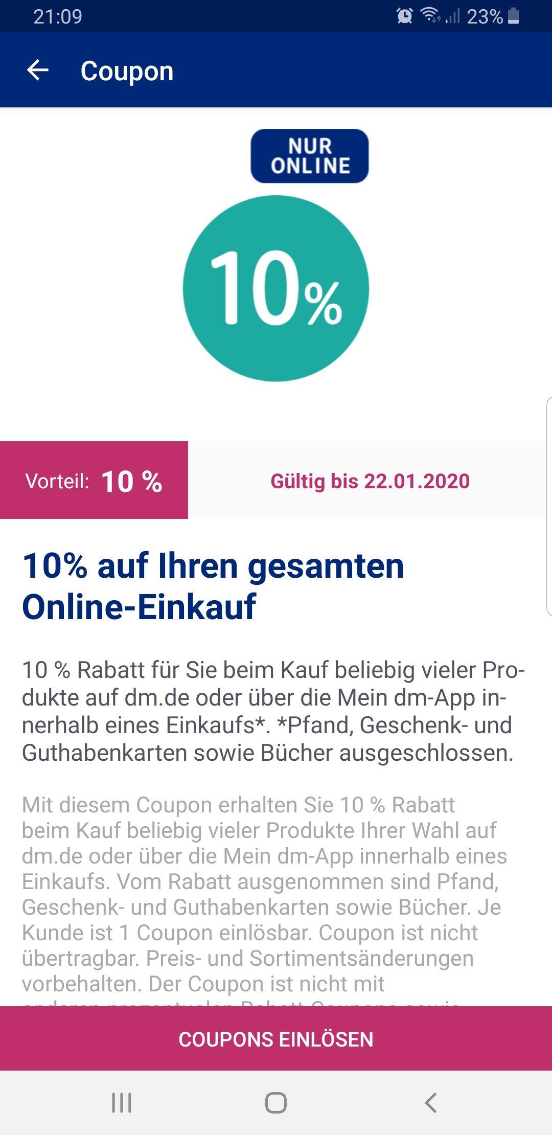 10% auf die DM online Bestellung