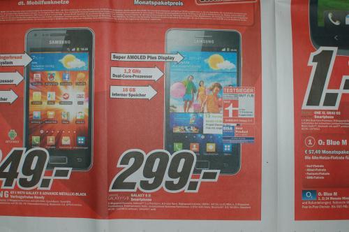 [Lokal] Samsung Galaxy S2 für 299 Euro im Media Markt Heidelberg