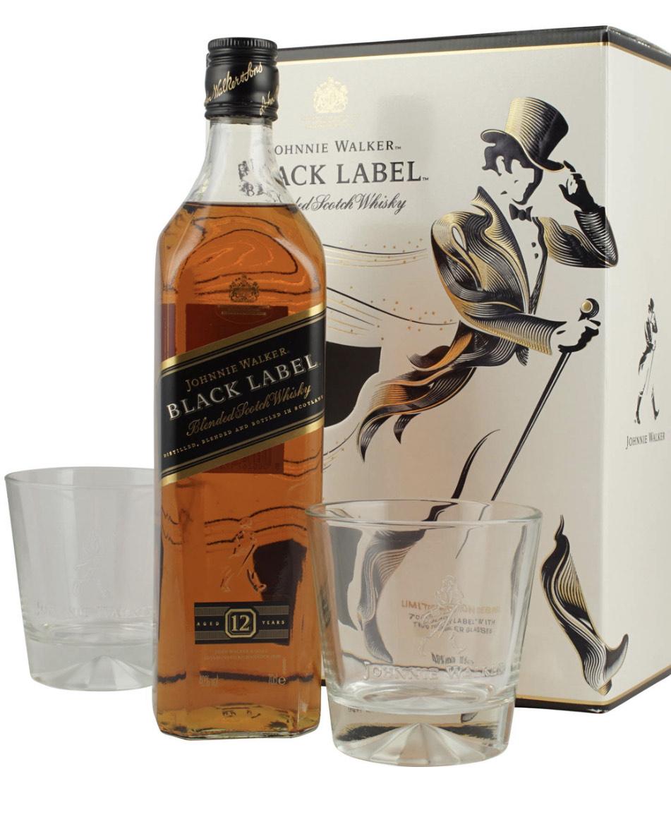 Johnnie Walker Black Label 12 Jahre Blended Scotch Whisky + 2 Tumbler