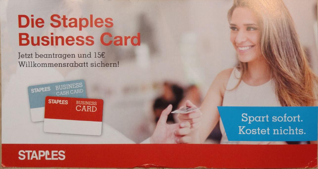 15€ Staples Gutschein ohne Mindestumsatz für Gewerbetreibende bei Beantragung einer Staples Business Card