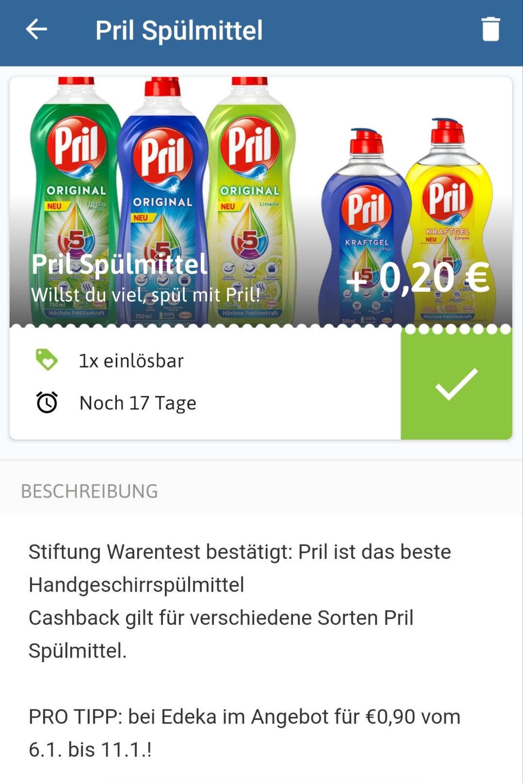 Edeka Pril 750ml im Angebot für 1,00 Euro Bei Reebate gibt es nochmals 0,20 Cent Abzug.
