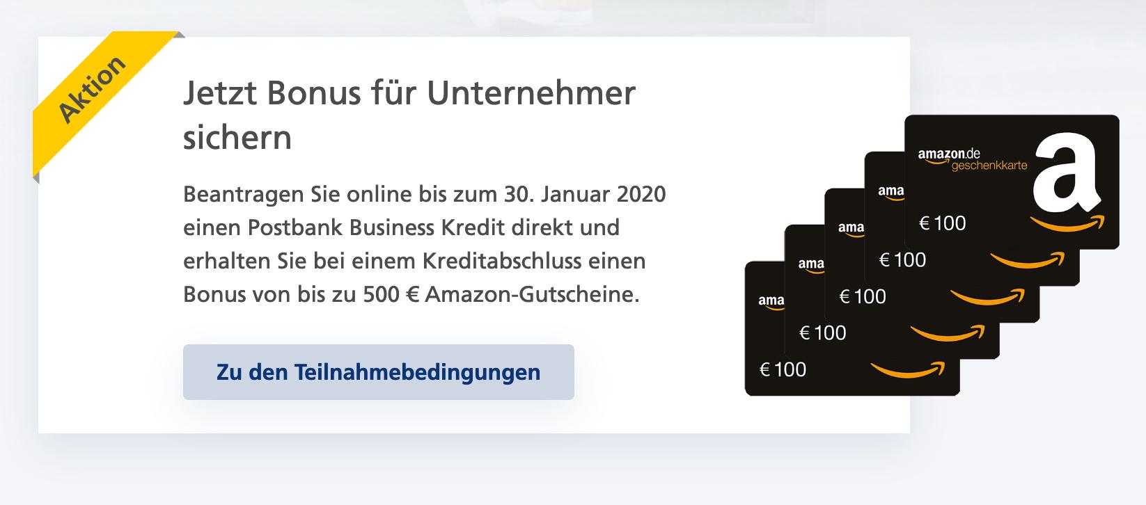 500 € Bonus bis 30.01. für einen Kredit ab 1,39% bei Postbank für Selbständige