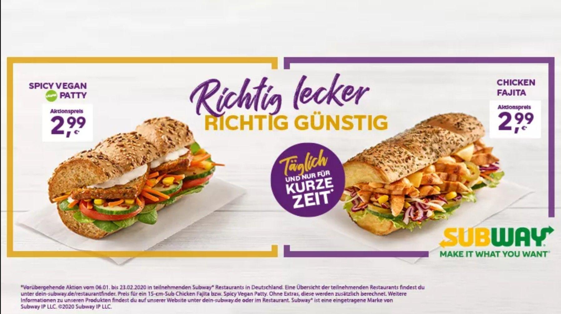 Subway - Chicken Fajita oder Spicy Vegan Patty (15cm) für 2,99 €