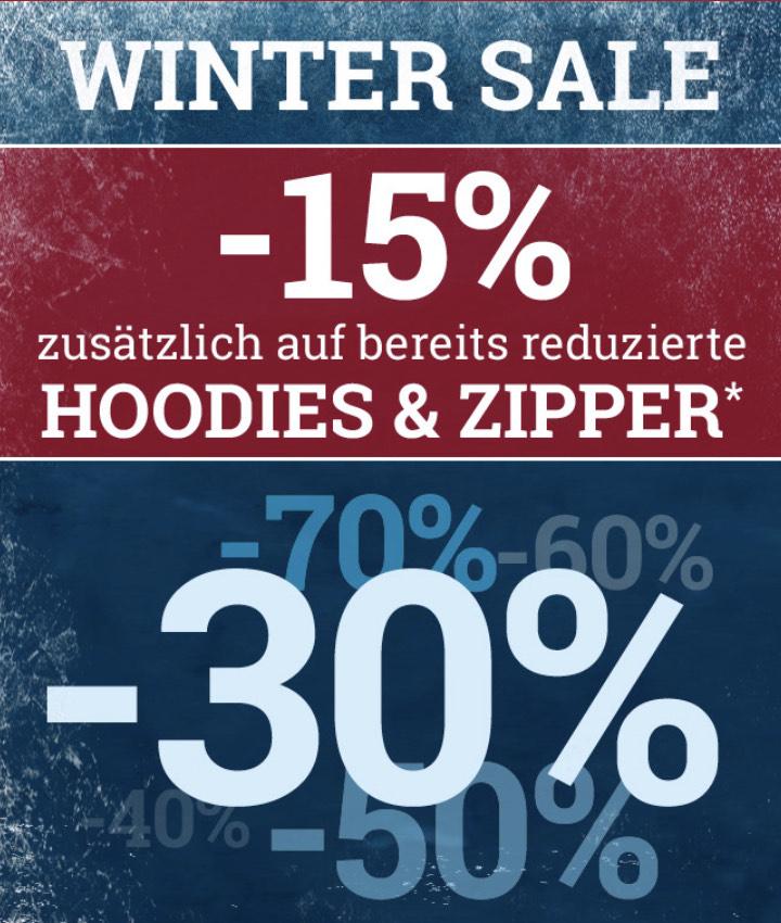 Zusätzlich auf bereits reduzierte Ware 15% auf Hoodies