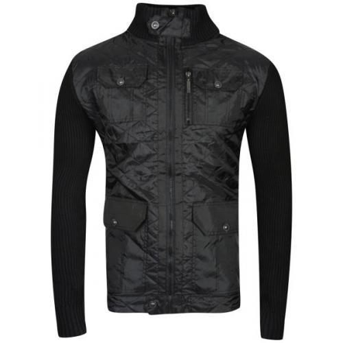 Bravesoul Men's Chaucer Zip Thru Knitted Front Jumper black @thehut