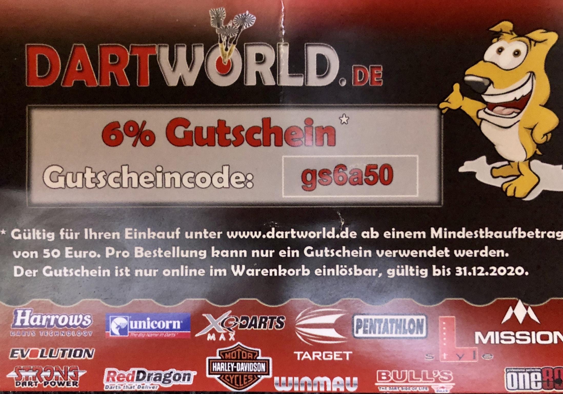 DARTWORLD GUTSCHEIN 6%