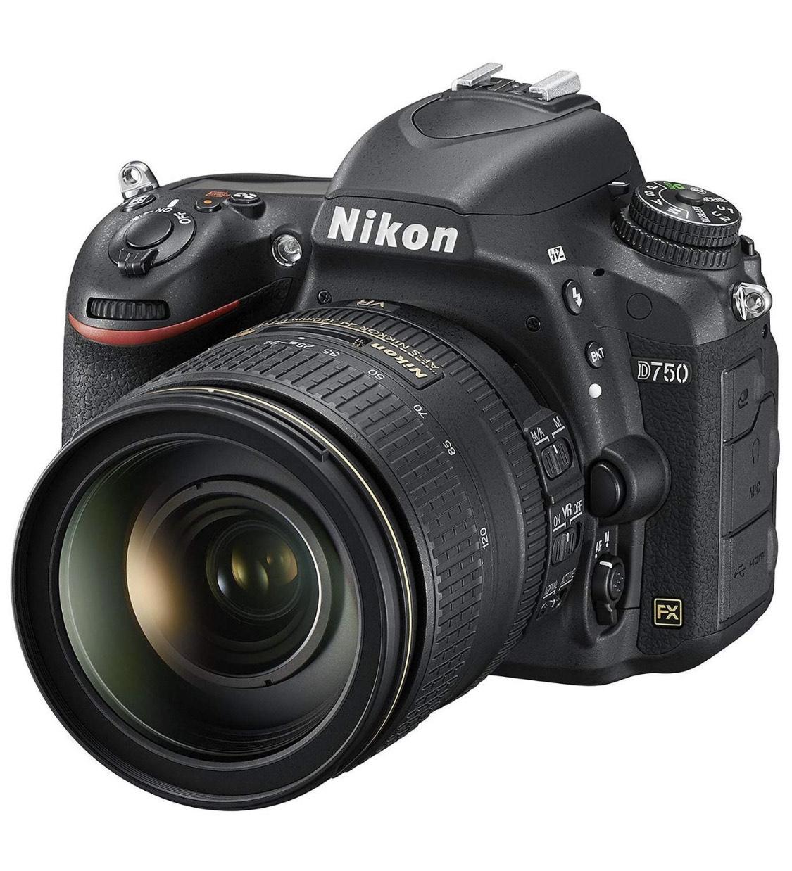 Amazon - Nikon D750 SLR-Digitalkamera (24,3 Megapixel, 8,1 cm (3,2 Zoll) Display, HDMI, USB 2.0) Kit inkl. AF-S Nikkor 24-120 mm 1:4G ED VR