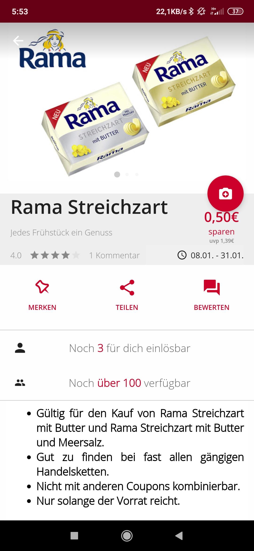Freebie mit Gewinn 0,13 Cent durch Payback Coupon und Scondoo Rewe Rama Streichzart ohne Meersalz im Angebot 0,77 cent