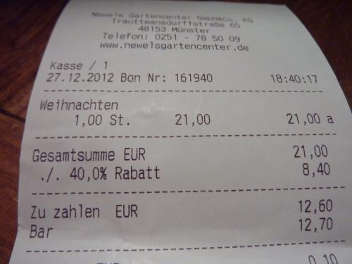 Newels Gartencenter in Münster: 40% auf ALLES !!!   [offline]
