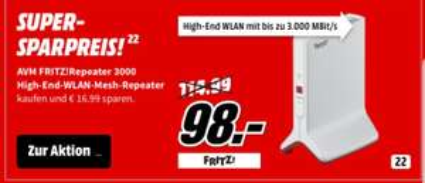 AVM Fritz!Wlan Repeater 3000 Mediamarkt/amazon.de 98 EUR im Markt, 99,99 EUR incl. Versand
