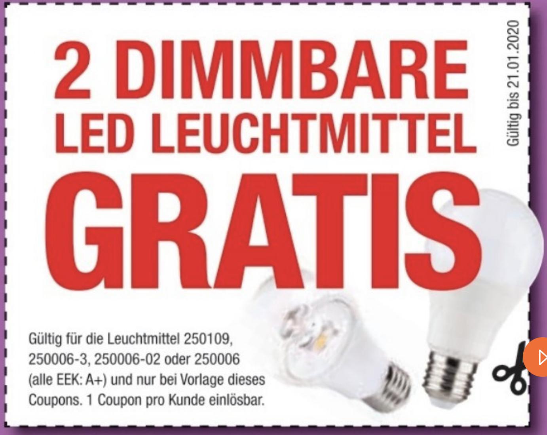 Lokal Möbel Hofmeister: 2 dimmbare LED Leuchtmittel GRATIS