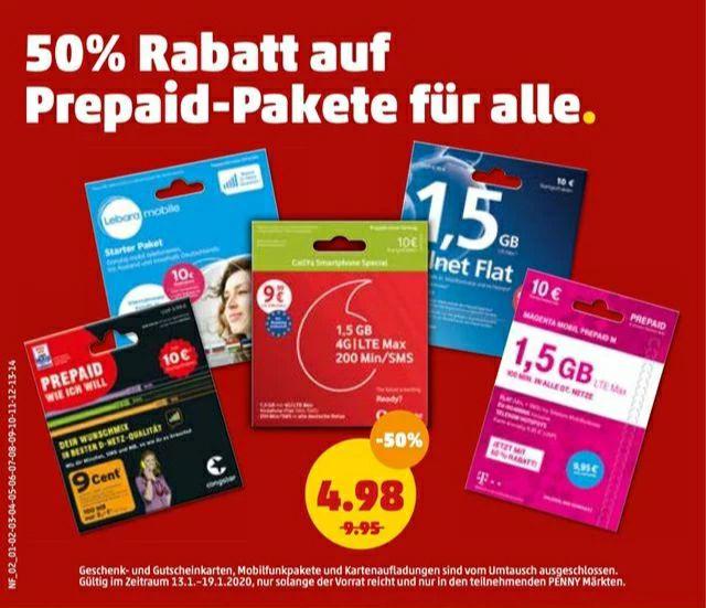 (Penny 13.1-19.1) 50% auf alle Prepaid-Pakete/Telekom, o2, Vodafone, Congstar, Lebara
