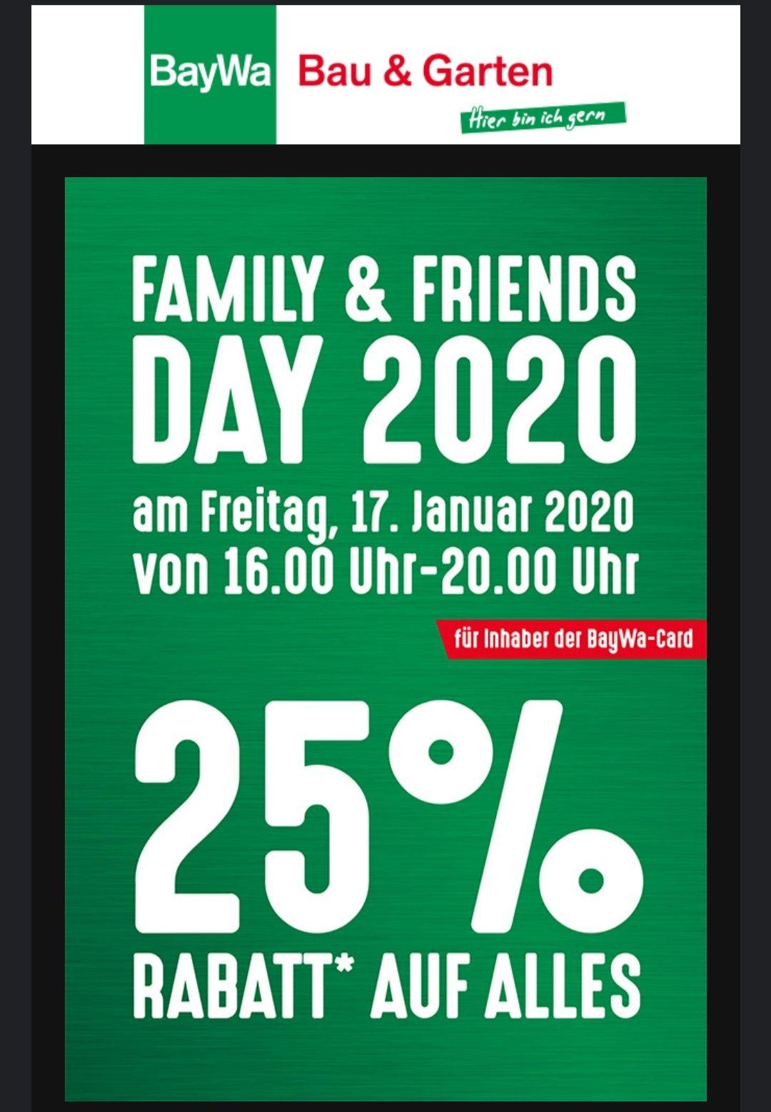 Baywa Family & Friends Day 2020 25% Rabatt auf alles am 17.1 ab 50€ Einkauf