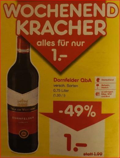 Dornfelder 0,75 Liter-Flasche Verschiedene Sorten) für 1 Euro [Netto MD, 17.-18.01.]