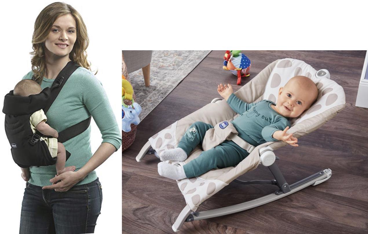 Chicco Easy Fit ergonomische Babytrage v. Geburt bis 9kg für 19,99€ oder Chicco Schaukelwippe faltbar für 34,99€ usw. - ab 23.01.