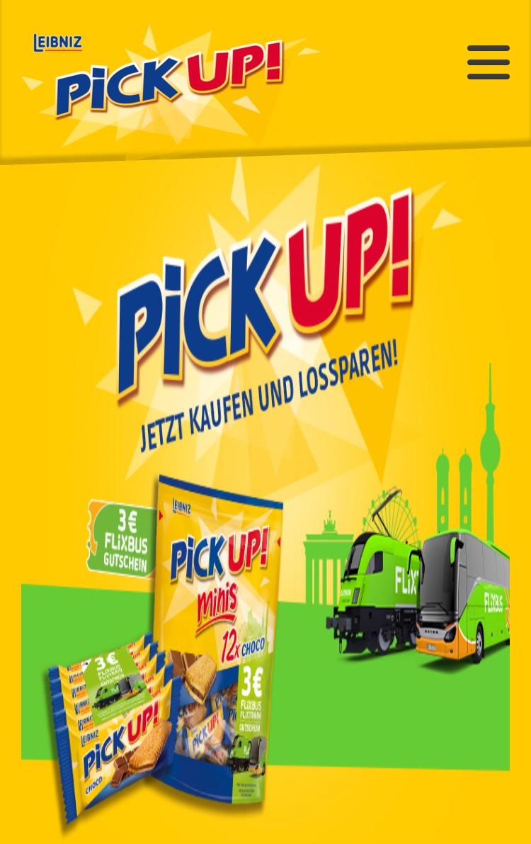 PiCK UP! Choco + Minis Choco & Milk 3€ - Flixbus/train Gutschein